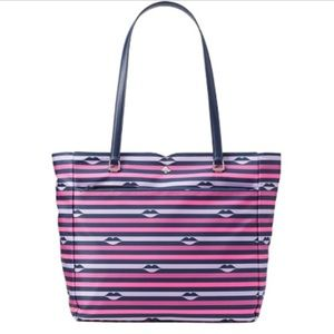 ✨ Kate Spade Jae Large Striped Tote Bag Lips